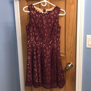 purple lace dress with a nude slip